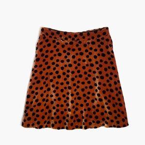 Madewell Leopard Dot Skirt Velvet